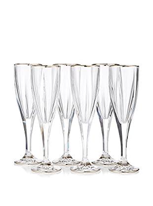 A Casa K Victoria Set of 6 Crystal & Platinum 6-Oz. Champagne Flutes