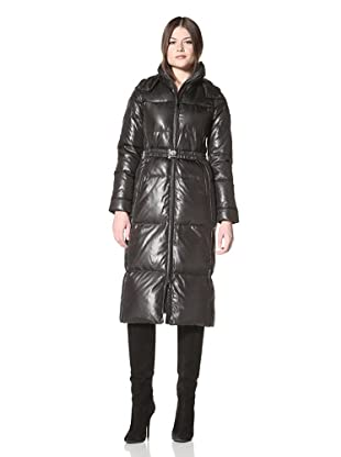 Vince Camuto Women's Belted Long Down Coat (Black)