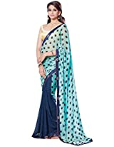 Ethnic Station Blue Bead Work Saree