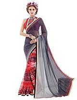 Inddus Women Grey & Red Half & Half Georgette Printed Fashion Saree
