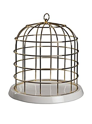 Seletti Twitable Metal Birdcage with Porcelain Base, Gold/White