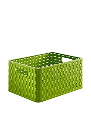 Rotho Aufbewahrungsbox 3er Set Country Rattan Stil A4 18 L grün