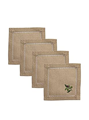 Henry Handwork Set of 4 Olive Branch Embroidered Cocktail Napkins, Natural