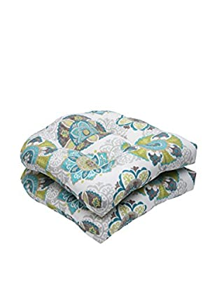 Pillow Perfect Set of 2 Indoor/Outdoor Allodala Oasis Wicker Seat Cushions, Blue