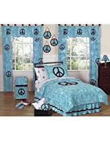 Turquoise Groovy Peace Sign Tie Dye Childrens and Kids 3 Piece Full / Queen Girls Bedding Set