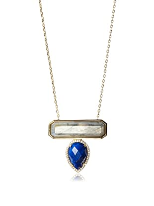 Melanie Auld Labradorite/Lapis Bar Drop Necklace