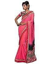 Inddus Women Pink Colored Georgette Embellished Saree