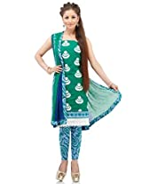 Green Cotton Embroidery Suit Dupatta Unstitched