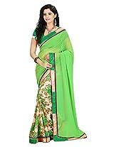 Vibes Women's Raga Georgette Saree (S23-1109B_Green Coloured)