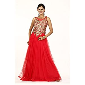 Bawree Gown Net Party Wear - Red