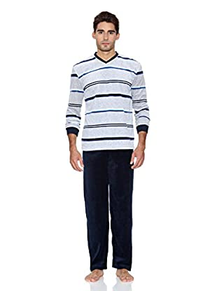 Basket Pijama Velour Cuello Pico (Azul Marino)