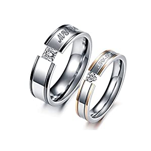 Asma fashion jewellery Black & Rose Gold Cubic Zirconia Stainless Steel couple ring for men & women
