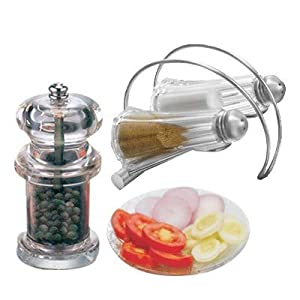 Avani Big Pepper Mill Salt and Pepper Dispenser with Stand, Multicolor