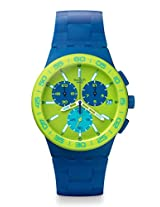 Swatch Blue Rug SUSN404 Green Round Dial Analogue Watch - For Men