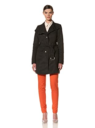 Andrew Marc Women's Sasha Belted Trench Coat (Black)