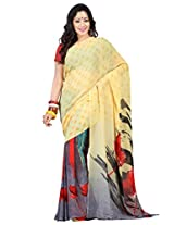 Admyrin Light Yellow and Grey Printed Saree with Red Blouse Piece