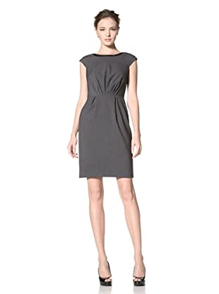 Calvin Klein Women's Cap Sleeve Solid Dress with Pleats (Charcoal)
