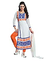 Ninecolours Georgette Embroidery Salwar Suit in White Colour