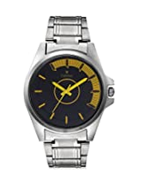 Calvino Men's Black Watch CGAC-142012-A_SIL-YELLOW