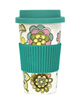 CR Gibson Iota Porcelain Ready To Go Travel Mug, Blooms Design, 16-Ounce