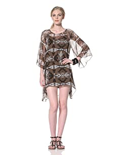 Dolce Vita Women's Haleigh Kimono Dress with Graduating Hem (Multi Brown Print)