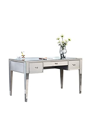 Mirage 3-Drawer Mirrored Desk, Silver Leaf