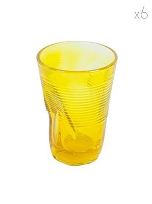 Kaleidos Set 6 Bicchieri Accartocciati 340 ml (Giallo)
