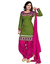 Vibes Women Cotton Salwar Suit Dress Material (V154-10 _Green _Free Size)