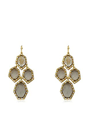 Riccova City Lights Faceted Black Glass Cluster Earrings with CZs