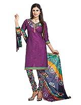 Divisha Fashion Purple Cotton Printed Churiddar Suit with Dupatta