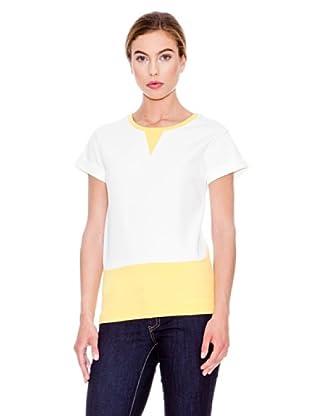 Mango Camiseta Haider (Blanco / Amarillo)