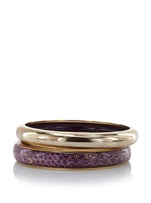 Kara Ross Metal Bangles with Interior Enamel, Lavender Water Snake