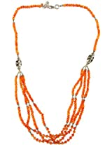 Exotic India Faceted Carnelian Beaded Necklace - Sterling Silver