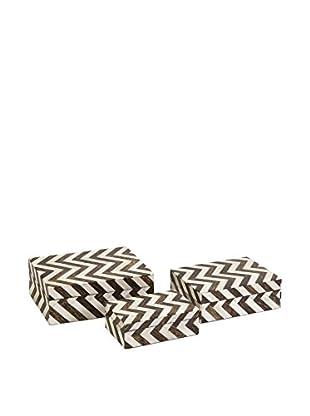 3-Piece Zig Zag Bone Inlay Set of Boxes