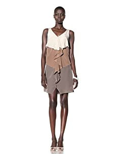 Suzi Chin Women's Sleeveless V-Neck Dress with Ruffles (Rice/Multi)
