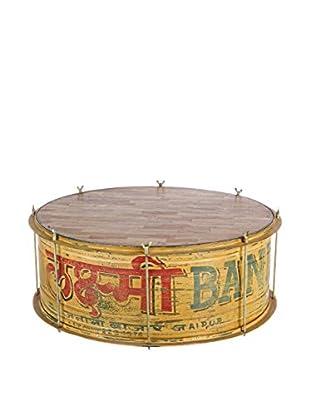 Vintage Mesa De Centro Drum Multicolor