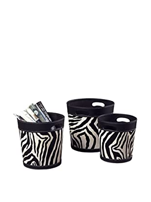Artistic Set of 3 Zebra Patterned Magazine Holders, Black/White