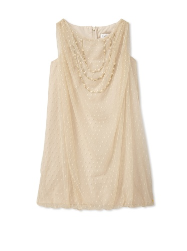 Blush by Us Angels Girl's Dotted Mesh Bubble Dress (Champagne)
