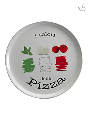 Table Set 6 Piatti Pizza Tricolore 33 cm