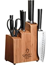 Ginsu 7108 Chikara 8-Piece Stainless Steel Knife Set with Bamboo Block
