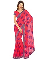 Charu Boutique Georgette Printed Saree( Red _Free Size)