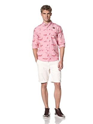 Under 2 Flags Men's Long Sleeve Printed Fishes Shirt (True Red)