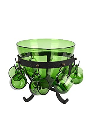 Uptown Down Previously Owned 8-Piece Green Glass & Metal Punch Bowl Set