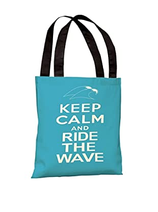 One Bella Casa Keep Calm & Ride The Waves Beach Tote Bag