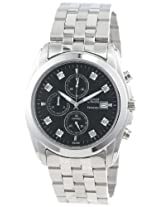 Caravelle by Bulova Men's 43D006 Diamond Accented Black Dial Watch