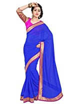 Viva N Diva Blue Color Pure Georgette Saree.