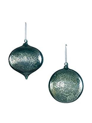 Sage & Co. Set of 2 Mercury Glass Onion Ball Ornaments, Blue