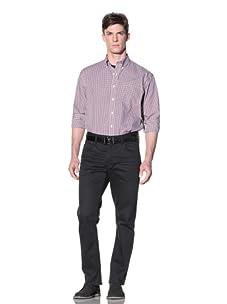 Nautica Men's Non-Iron Plaid Button-Down Shirt (Wine)