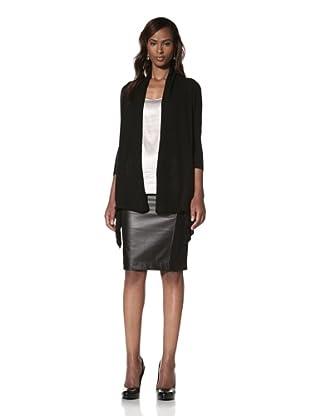KOKUN Women's Asymmetrical Cardigan (Black)