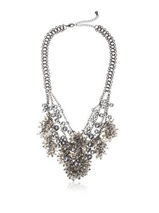 Chloe & Theodora Gunmetal and Simulated Pearl Cluster Bib Necklace